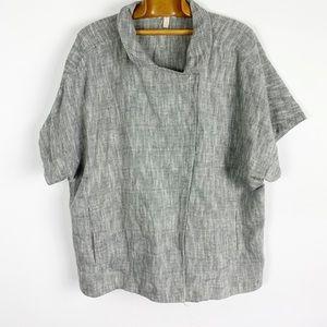 Eileen fisher grey short sleeve cotton linen top